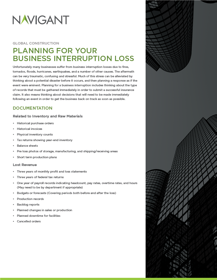Planning for Your Business Interruption...